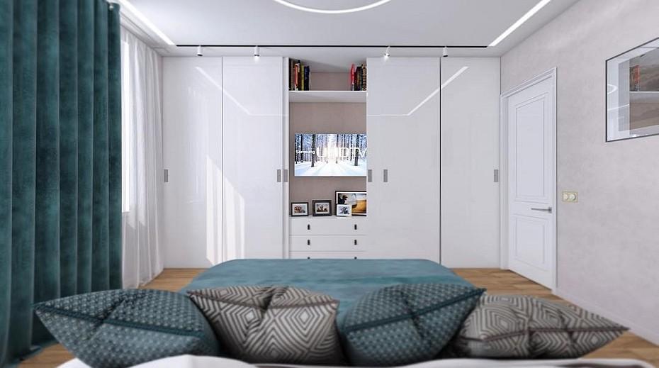 Современный шкаф белого цвета в спальне