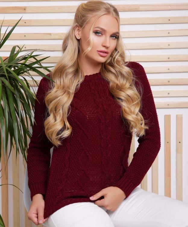 Бордовий в'язаний светр великого розміру (товар магазину candy-style.com.ua)