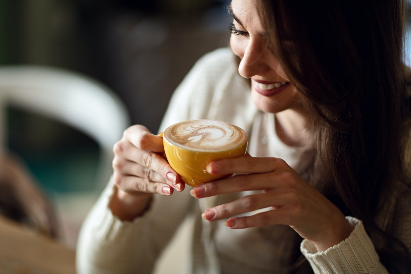 Ароматный Латте приготовленный на кофемашине дома