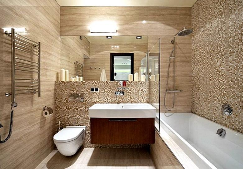 Подвесная тумба в интерьере ванной комнаты