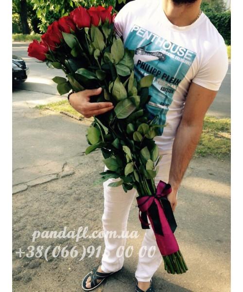 Красивые красные розы 100 см: доставка на дом