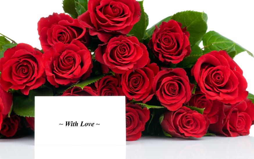 Нежный букет роз с открыткой